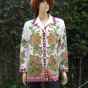 """70s Bold Funky Print """"Forever Young"""" 41"""" Bust"""
